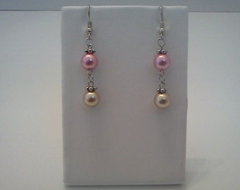 Pearl Dangle Earrings Silver Accented Dark Rose Gold Glass Crystal Bead Free US Shipping