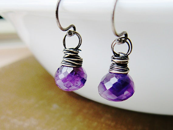 Cyber Monday Etsy Jewelry Violet Earrings Amethyst Oxidized Silver wire wrap February Birthstone Under 30