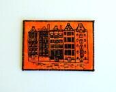 Dutch Houses Mini Art Card - Screen Print Black on Orange - ACEO