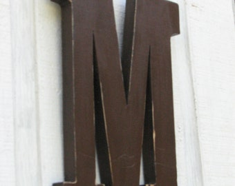 Wood Letters 3 D Dark Chocolate Letter M Wooden Distressed made to Look Antique You Pick Letter and Color