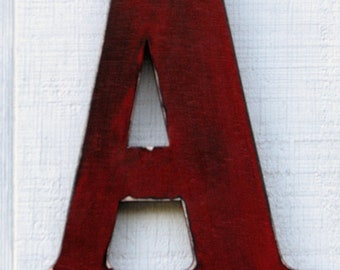 "Rustic Wall Wood Letter A Rustic Distressed in True Red 12"" tall alphabet Letters Nursery Decor, Kids Room You Pick Color"