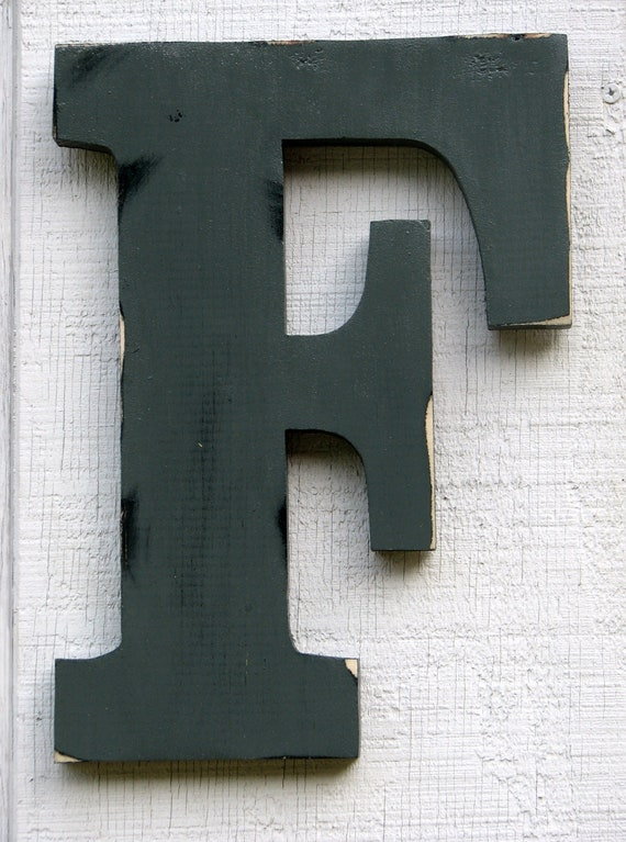 """12 inch Rustic Wooden Letter F Distressed Painted Pewter Grey, 12"""" tall Wood Name Letters, Custom Wedding Gift"""