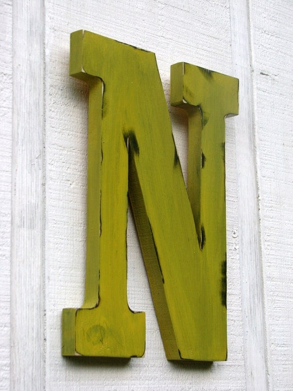 wall hanging rustic wooden letter n distressed painted golden yellow