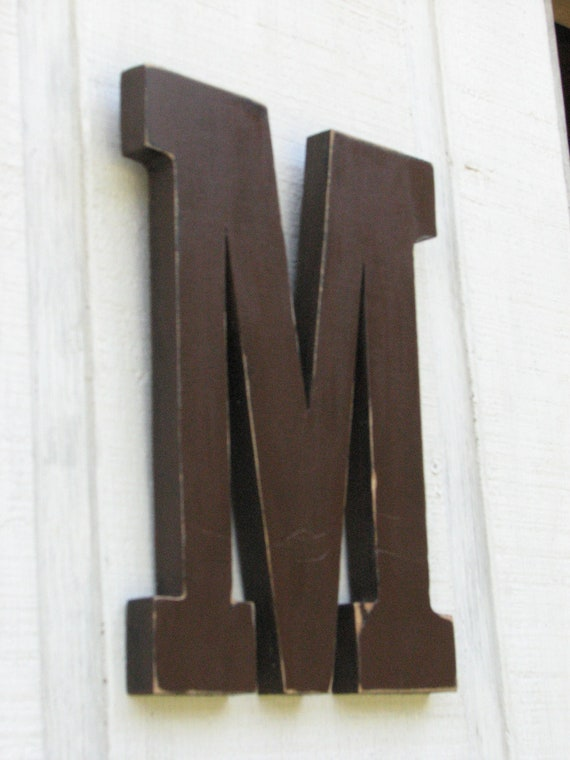 wood letters 3 d dark chocolate letter m wooden distressed With dark chocolate letters
