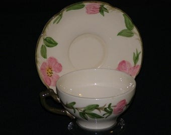 Vintage Franciscan Pottery  Made in USA Classic Design Raise Pattern Hand Painted Rose Green colors