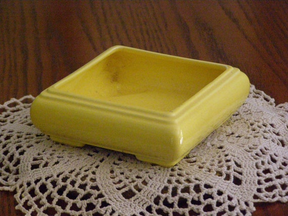 Vintage California Pottery Kellems Pasadena Yellow Bonsai Planter