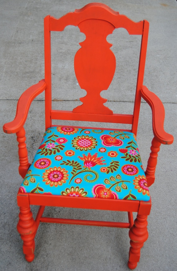 Painted vintage chair floral upholstered