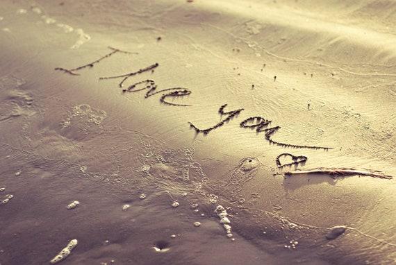"Beach Photography -  beach sand love valentine's day nautical home decor sea golden ocean romantic heart wall art print  photos ""I love you"""