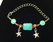 Genuine Turquoise Starfish coin Bracelet with Red Coral and Silver beads