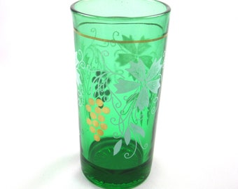 Green Glass, Vintage with White Vine and Gold Grape Accents
