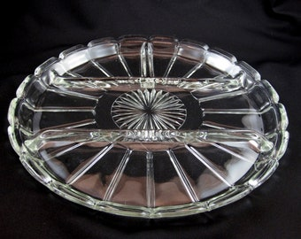 Depression Glass Divided Relish Platter, Vintage