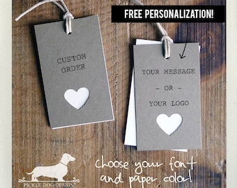 Natural Heart. Personalized Rectangle Gift Tags (Set of 20) -- (Choose Your Color, Bridal Shower, Wedding Favor, Rustic, Love, Cute, Custom)