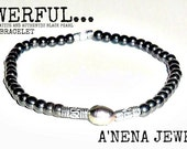 POWERFUL...Men's Bracelet Genuine Hematite and Authentic Black Pearl