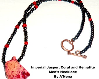 "Men's Necklace  Genuine Imperial Jasper, Coral and Hematite & Copper Toggle Clasp "" Blessed and Protected"""