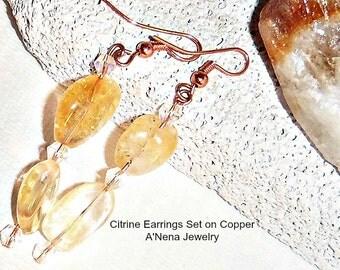 """Earrings  Genuine Citrine Set on Copper """" Happy Sunshine"""""""