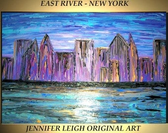 Original Large Abstract Painting Modern Contemporary Canvas Art Blue Gold Purple New York Skyline 36x24 Palette Knife Texture Oil J.LEIGH
