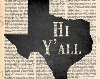 Vintage Dictionary Howdy Y'all Texas print
