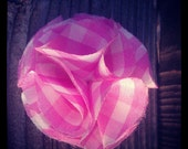 Pretty pink and white gingham small fabric flower