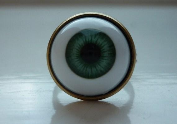 90s Grunge Goth Rave Adjustable Blue Eyeball Ring