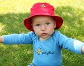 SALE - Infant Brimmed Sun Hat - Bee Embroidery - Baby Bucket Hat - Baby Bee Hat - Pink Sun Hat - Red Bucket Hat - Blue Baby Hat - Fits 0-8 M