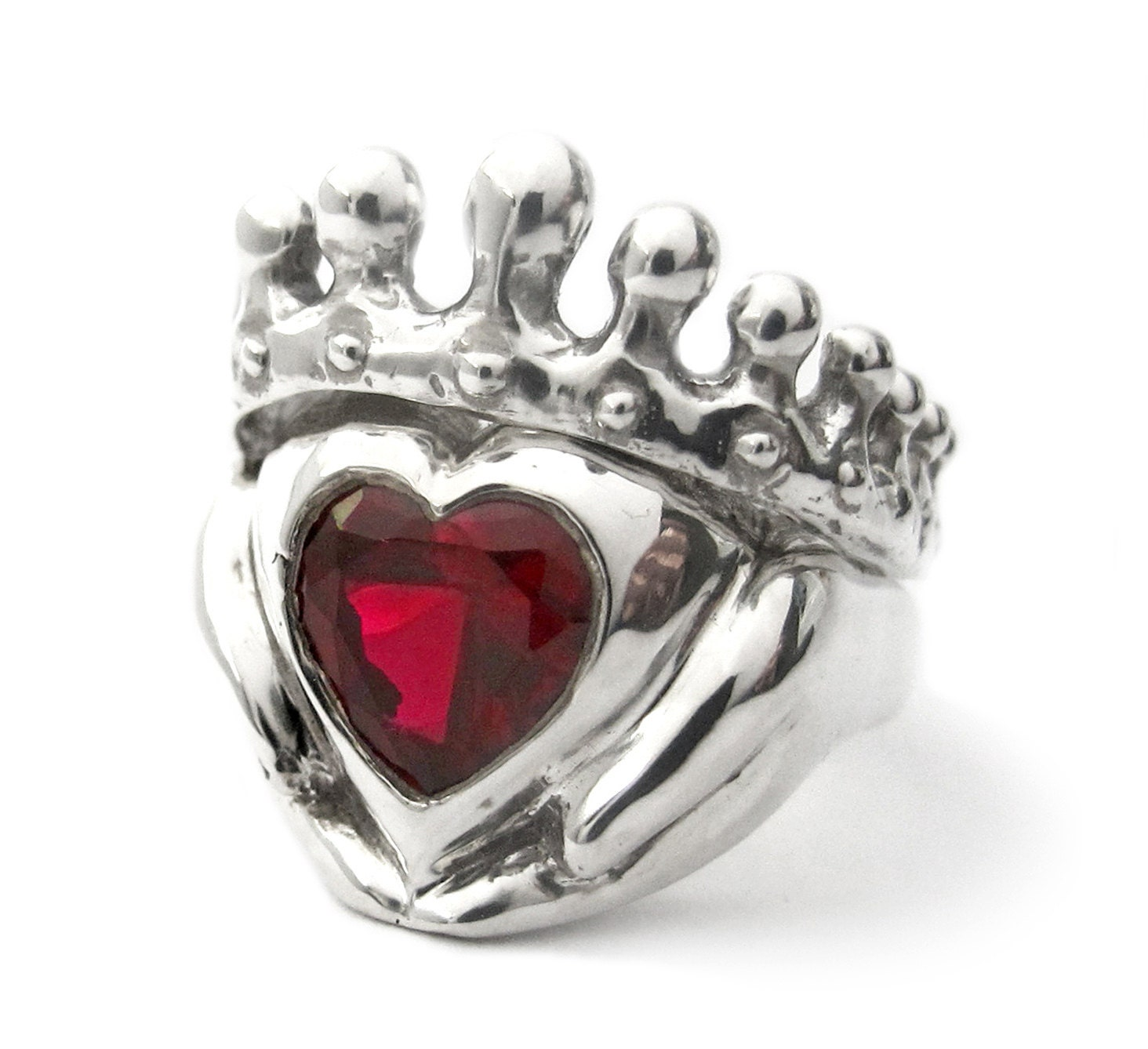 Big Red Heart Claddagh Wedding Set Engagement and wedding
