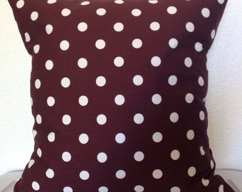 2 Pillow Covers 18x18-Free Shipping - White Polka Dot on Brown