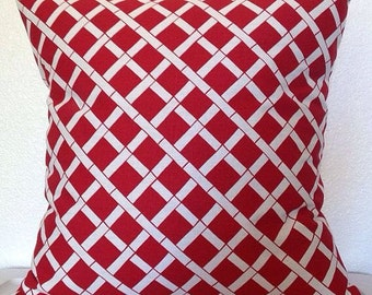 Single Pillow Cover 12x16 or 18 inch-Free US Shipping - Cadence Red and White