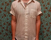 Vintage brown & white striped short sleeve shirt