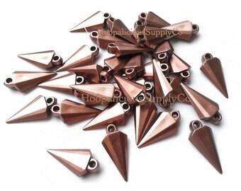 25 Unique Arrowhead Spikes with Top Loop- MILK CHOCOLATE Color- Acrylic