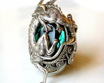Silver Dragon Ring - Emerald Swarovski Gothic Ring - Statement Ring - Game of Thrones Ring - Women Fantasy Gothic Jewelry