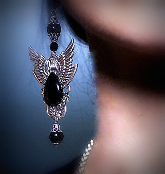 Black Onyx Gothic Wing Earrings - Gothic Jewelry - Wing jewelry