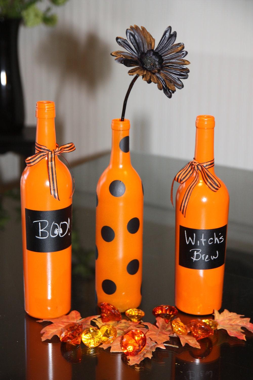 Items similar to halloween wine bottle decor on etsy for Bottle decoration
