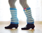 20% Fall Sale, ready to ship SNOWMAN LEG WARMERS Wool Knitting Autumn Fall Winter Cold Days Kids Teens Cozy Blue - warmYourself