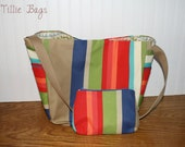 Multicolored Striped Water Resistant Large Tote with Matching Cosmetic Bag