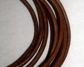 2 mm Distressed Brown color Leather 4 feet