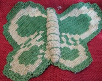 Vintage crocheted butterfly pot holder - Grandma's