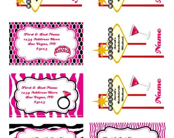 Personalized, Custom Made- Las Vegas Themed Bachelorette Party Luggage Tags- Set of 4 (can order other quantities)
