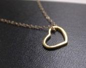 Open heart pendant necklace - 14k gold vermeil