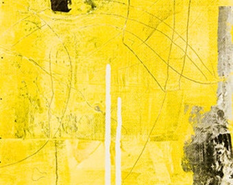 Yellow and Black Abstract Painting RGCIV12.2011No.18 EOC1 - Distilled Reality/Free Shipping