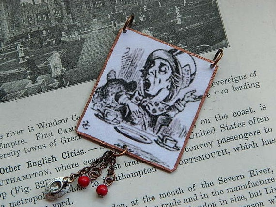 Mad Hatter necklace Alice in Wonderland Mixed media jewelry