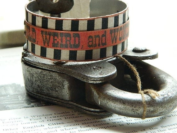 Victorian Circus cuff bracelet WILD,WEIRD and WONDERFUL mixed media jewelry Halloween Sarah Wood