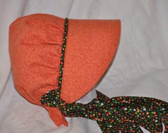 Orange Calico Bonnet