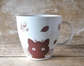 Kitty Cat Mug, Autumn Leaves, Large 16 oz Cup, Ready to Ship