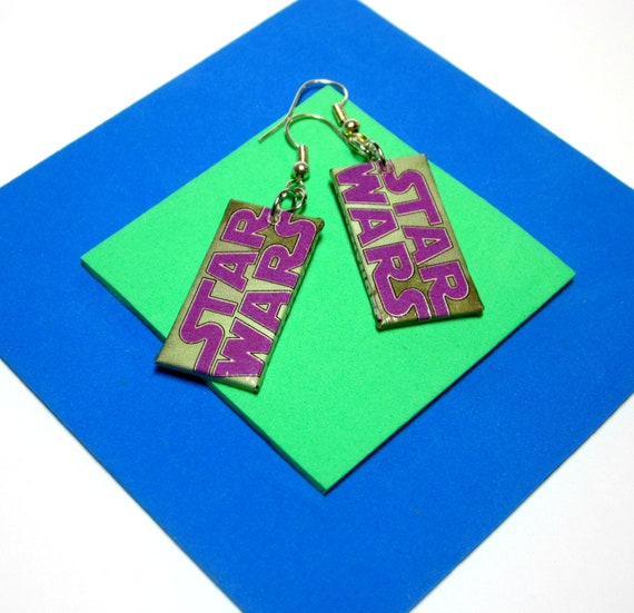 Star Wars Earrings. Comic Capture. Luke Skywalker. Upcycled Recycled Comic Collage. Wood Base. Nickel Free.