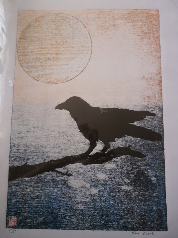 Crow Branch & Moon Original woodblock print on Japanese Washi paper signed Clark