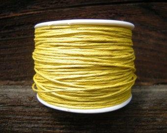 yellow cotton wax cord, 1mm, wax cotton cord 1mm, 5m (16 ft)