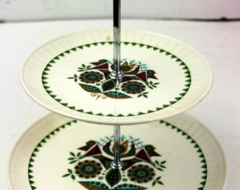 Contessa Passily Made in England Tid Bit Tiered Tray Serving Dish FOLK Art SERVING TRAY