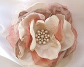 Ivory, Champagne, Peach  Fabric Wedding Flower Hair Clip Brooch, Bride,  Bridesmaid, Mother of the Bride with Pearl and Rhinestone Accent