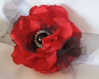 Red and Black Wedding, Bridesmaid, Mother of the Bride  Flower Fascinator Hair Clip Brooch Pin with Beautiful  Black and Rhinestone Accent