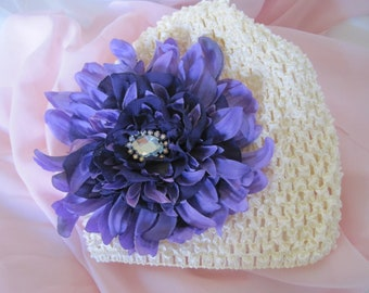 Ivory Baby Girl Hat Beanie with Gorgeous Purple Variegated Refashioned Dahlia with Chiffon and Rhinestone Accent